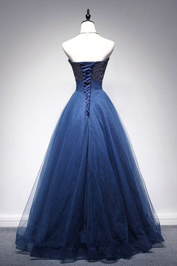 Royal Blue Sweetheart Beading Real Made A-Line Charming 2018 Prom Dresses,Prom