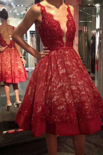 Red Lace V-Neck Real Made A-Line Charming 2018 Prom Dresses,Prom Dresses,Formal