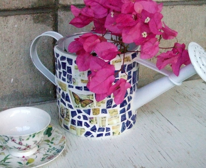 Mosaic watering can - mosaics - blue mosaic tiles - butterfly tiles - pretty