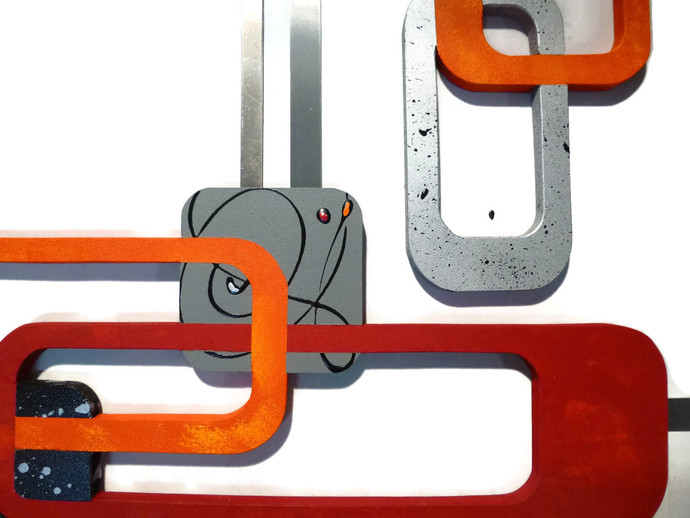 Liza Boo 3 pc Orange ann Red Abstract Wall hangings, Contemporary Wall