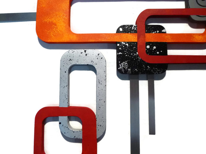 Allure 3 piece Orange Red Grey Set of 3 wood and metal wall hangings -Unique