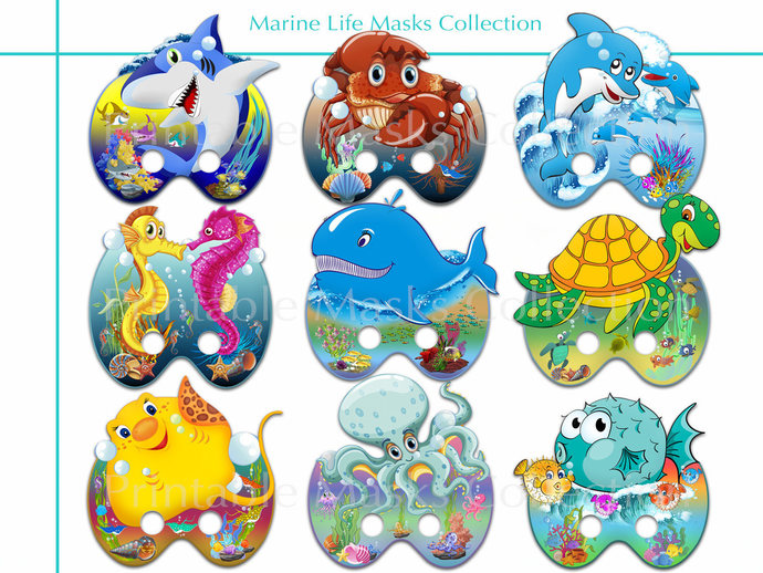Unique 9 Marine Life Printable Masks, Photo booth props, Sea birthday, dolphin