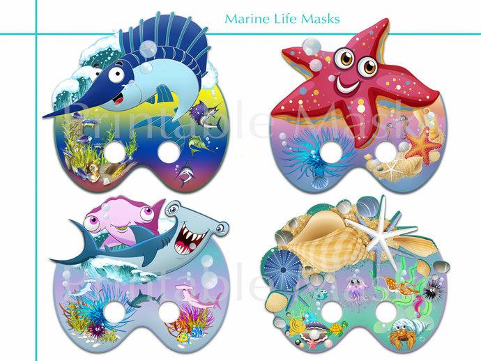 Unique 4 Marine Life Printable Masks, Photo booth props, Sea birthday, starfish