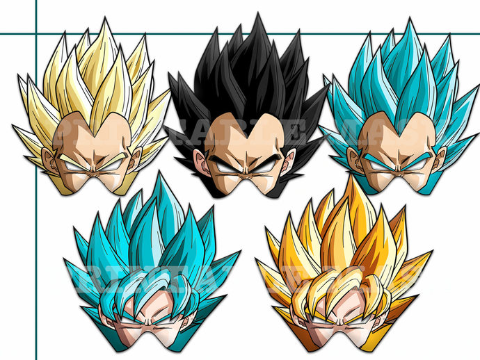 picture regarding Dragon Ball Z Printable known as Distinctive Dragon Ball Z Printable Masks, Eastern anime, Saiyan Goku mask, Vegeta image either props, Piccolo, Trunks, Frieza, dragon ball bash