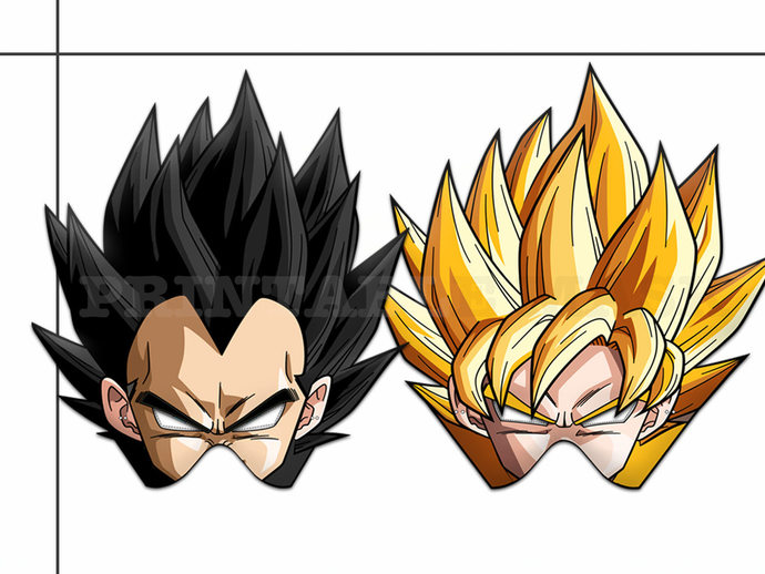 graphic relating to Dragon Ball Z Printable referred to as Exclusive 2 Dragon Ball Z Printable Masks, Jap anime, Saiyan Goku mask, Vegeta photograph either prop, Piccolo, Trunks, Frieza, dragon ball get together