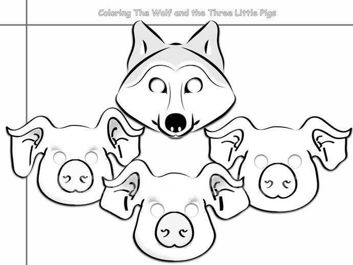 image about Three Little Pigs Printable referred to as Coloring Web pages Wolf and the 3 Tiny Pigs Printable Black and White Line Artwork Masks, children gown, paper mask, props, birthday, pig get together