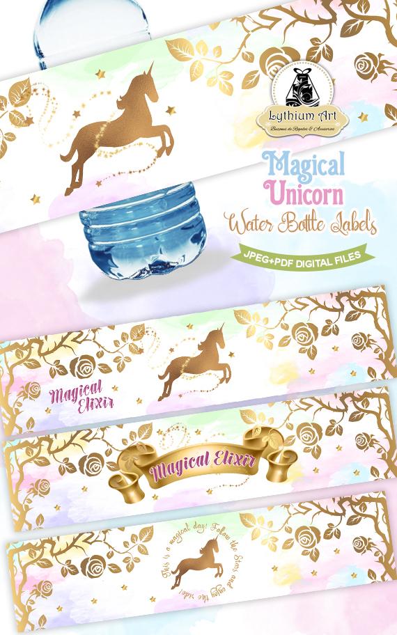 unicorn water bottle wraps - unicorn labels