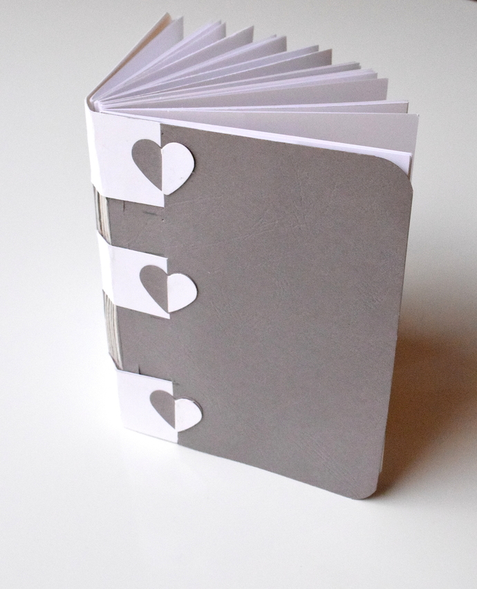 Grey Cross Structure Journal with Hearts