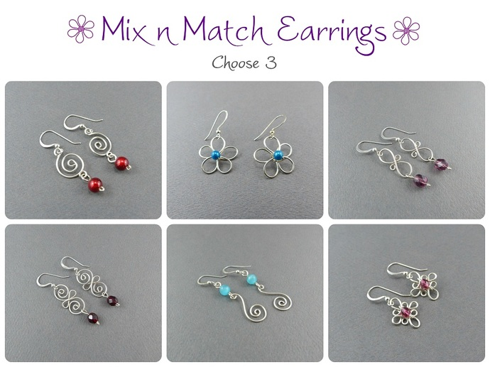 Mix 'n' Match Small Dangle Earrings - Small Sterling Silver Wire Earring -