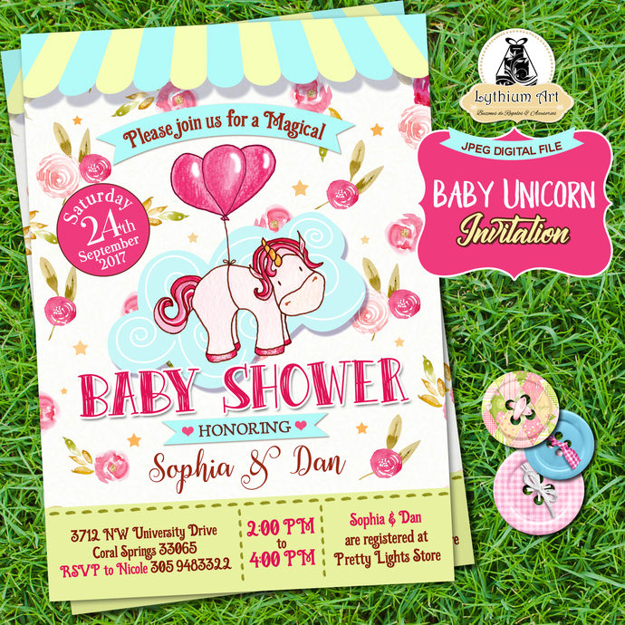 Unicorn Baby Shower Invitation + Back Design + Thank You Tags - Unicorn Party