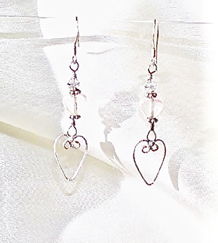 Sterling Filigree Hearts Earrings
