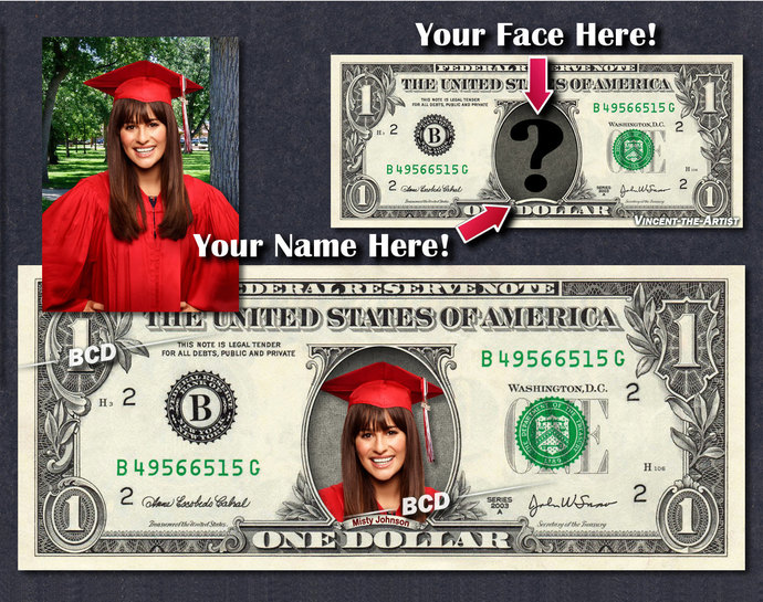 Your FACE & NAME on REAL Dollar Bill - Color! - Money Art Gift - Personalized -