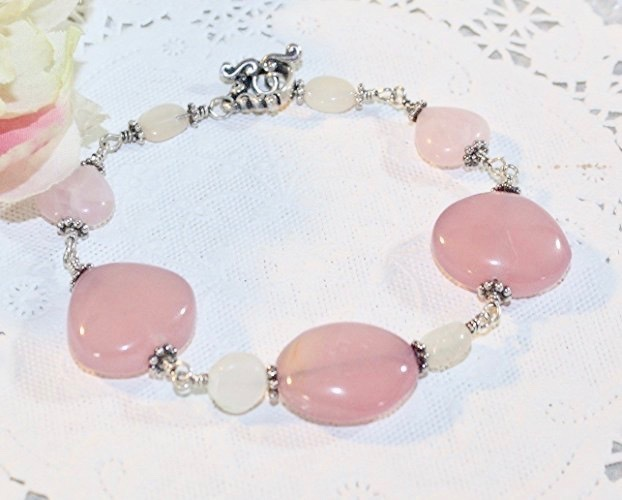 Rose Beauty and Glowing Moonstone Bracelet