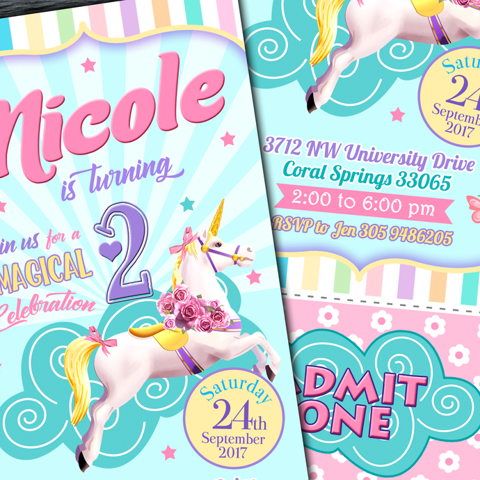 Unicorn Ticket Invitation  Unicorn Printable By Lythiumart On Zibbet