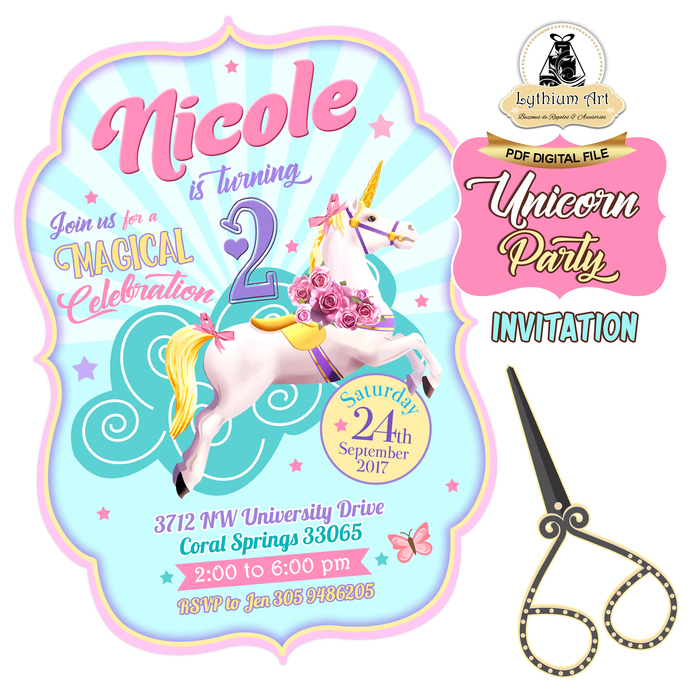 Unicorn Invitation - Unicorn Printable Invitation - Shaped Invitation - Unicorn