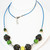Metal Mesh Long Beaded Necklace with Green, Yellow and White Ceramic Beads,