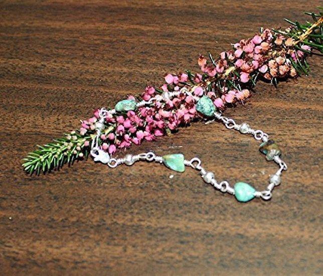 Sterling Silver Natural Turquoise Nugget Bracelet