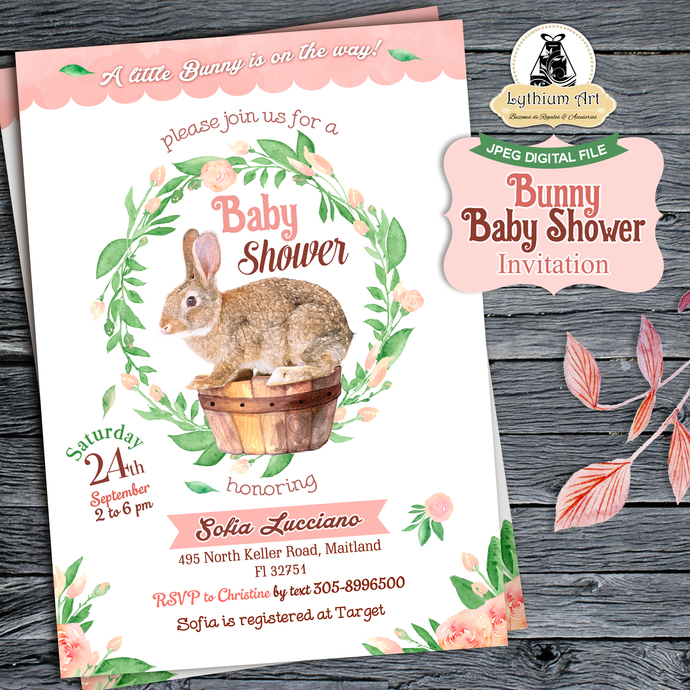 Bunny Baby Shower Invitation - Baby Shower Invitation - Baby Shower Watercolor -