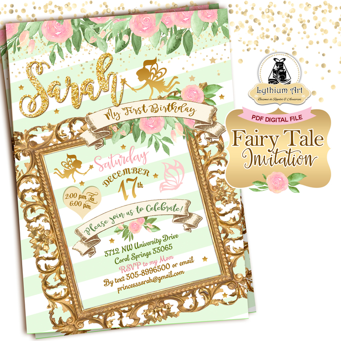 Mint Fairy Tale Invitation - Mint and Gold Invitation - Pink and Gold Invitation