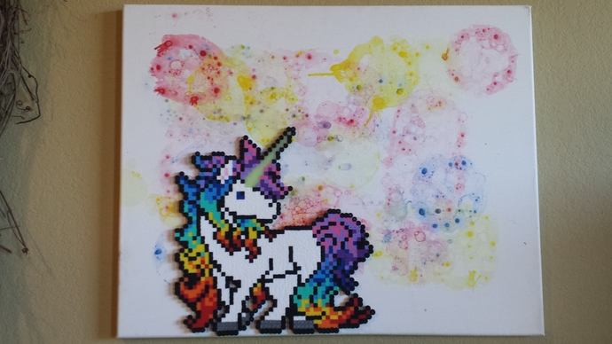 16x20 Rainbow Unicorn on Acrylic Painted Canvas or Stand-alone Perler Sprite,