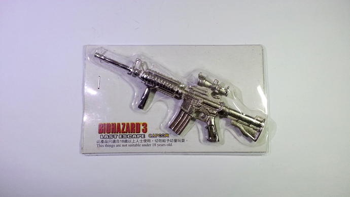Hong Kong Capcom Comic BIOHAZARD 3 Last Escape Promo Assault Rifle Silver Metal