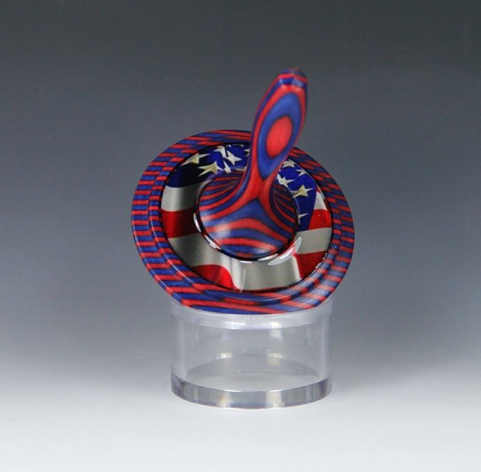 Handmade Toy Spin Top, Dyed Hardwood with USA Theme