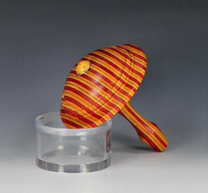 Handmade Toy Spin Top, Dyed Hardwood