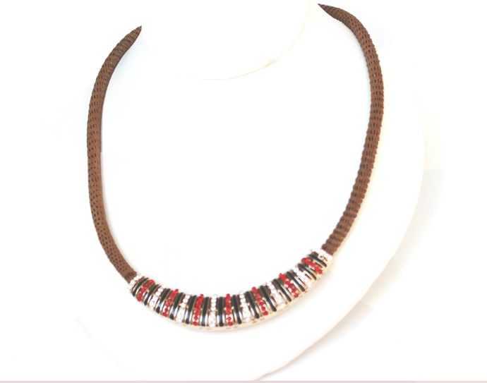 Crystal Beaded Necklace on a Brown Nylon Rope, Festive Colors, Red and Clear