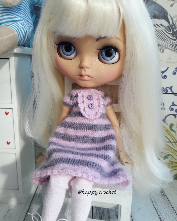 SolD. Made for order. Outfit for Blythe dolls. Dress+stockings.