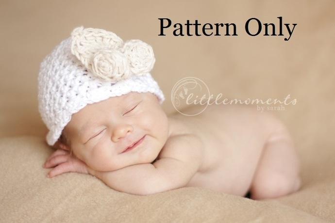 Newborn Crochet Pattern, Baby Crochet Pattern, Newborn Baby Flower Hat Pattern,