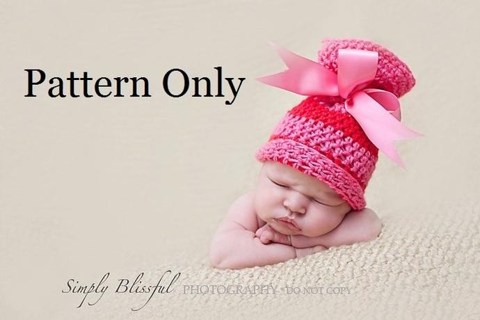 Newborn Crochet Pattern, Baby Crochet Pattern, Newborn Baby Sack Hat Pattern,