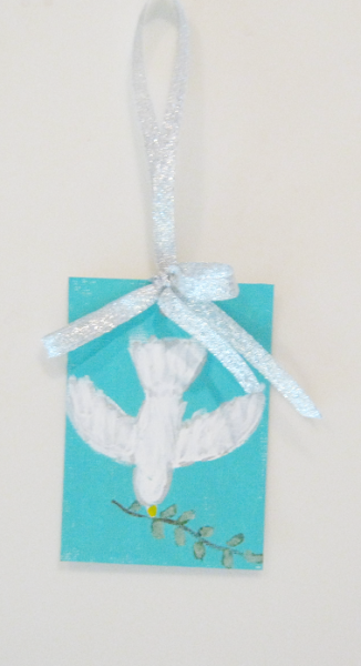 ACEO Holiday Ornament Peace on Earth white dove decoration holiday miniature