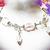 Crystal and Aquamarine Sterling Silver Charm Bracelet