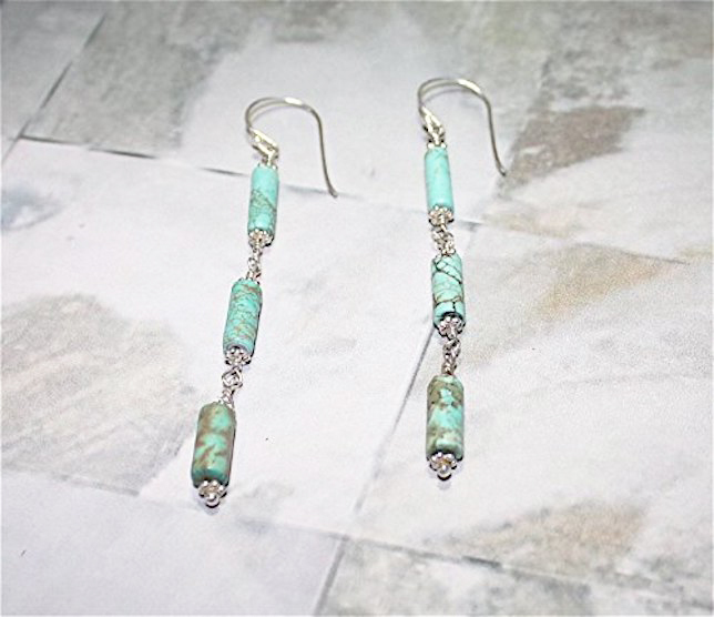 Turquoise Sterling Silver Chain Earrings