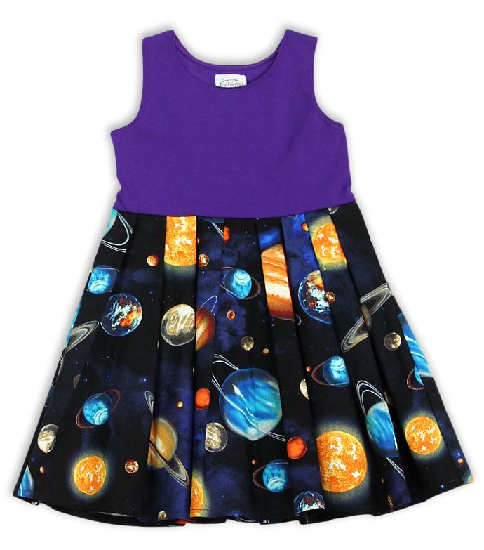 Twirly Pocket Dress Space Princess, Space Dress, Solar System Dress