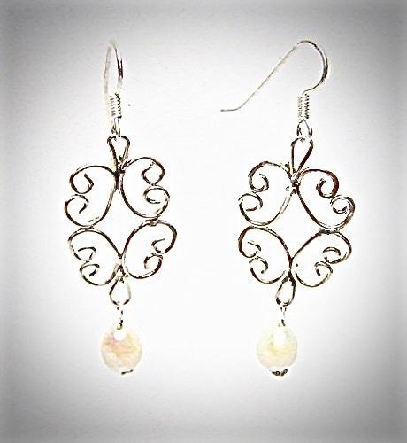 Sterling Silver Filigree Lace Pearl Earrings