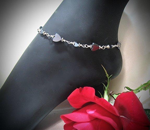 Shining Hematite Hearts Sterling Silver Ankle Bracelet