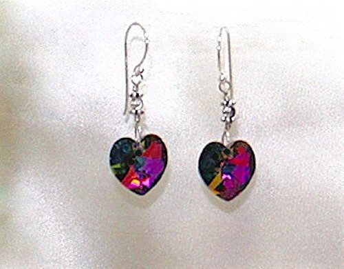 Sparkling Austrian Crystal Vitrail Heart Sterling Silver Earrings