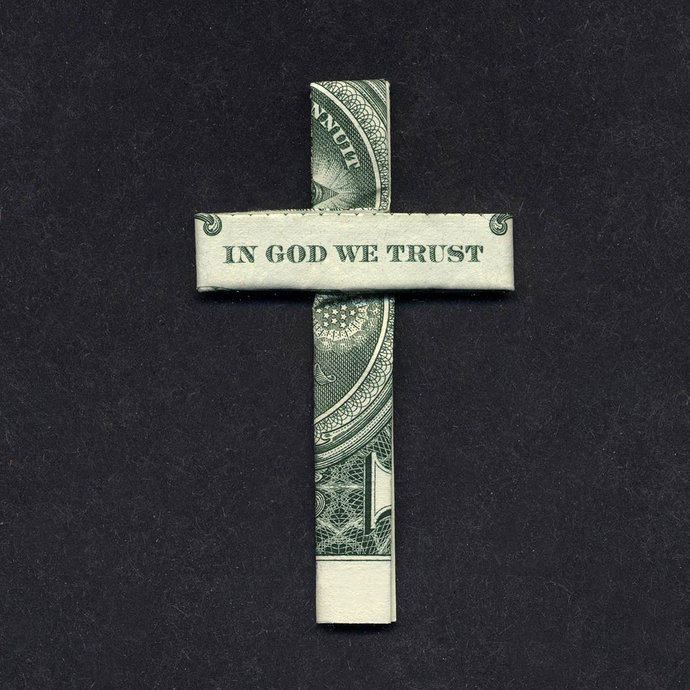 CROSS Money Origami Dollar Bill In God We Trust Cash Sculptors Bank Note