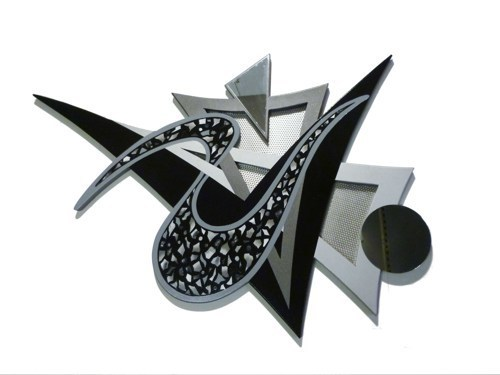Sterling Sofia - Black & Grey Mosaic Design wall sculpture - Contemporary
