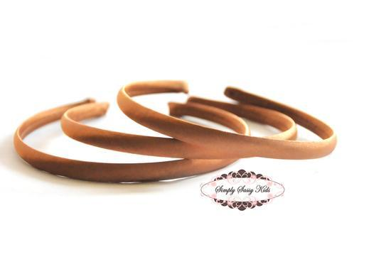 1pc Cocoa Satin Covered Headbands - Add Hair Flowers, Embellishments, Bows,