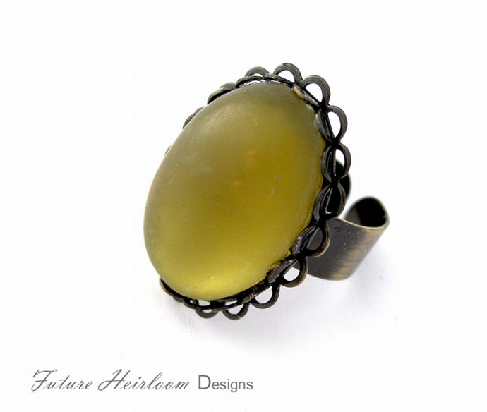 Olive Green Acrylic Cabochon Antique Gold Adjustab