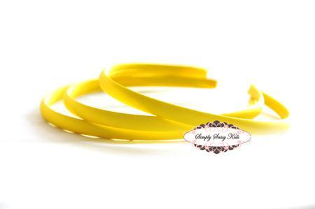 1pc Yellow Satin Covered Headbands - Add Hair Flowers, Embellishments, Bows,