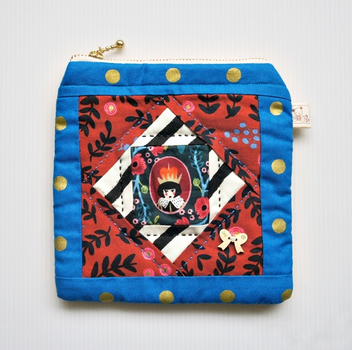 Alice in the Wonderland patchwork square zip pouch