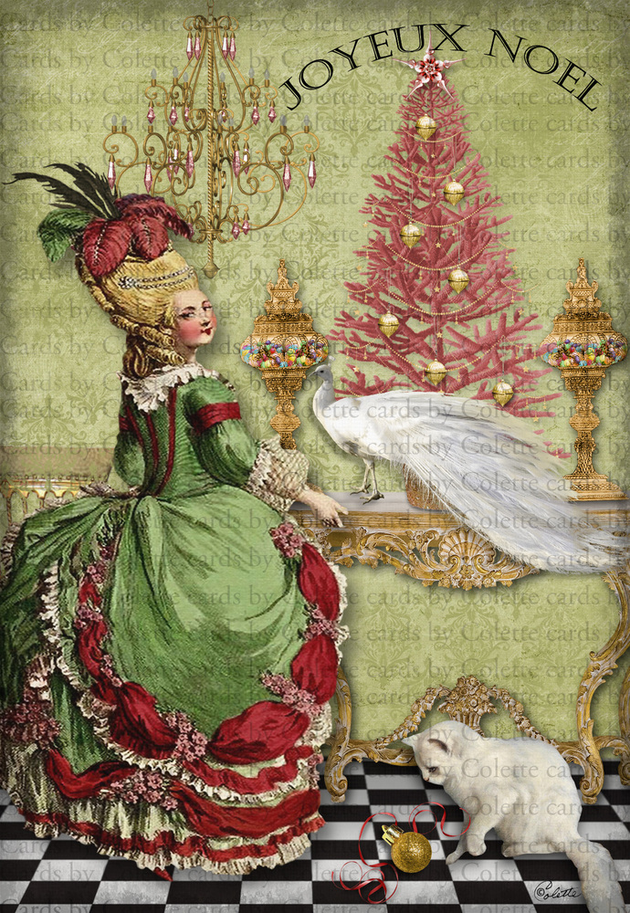 Marie's Christmas Digital Collage Greeting Card879