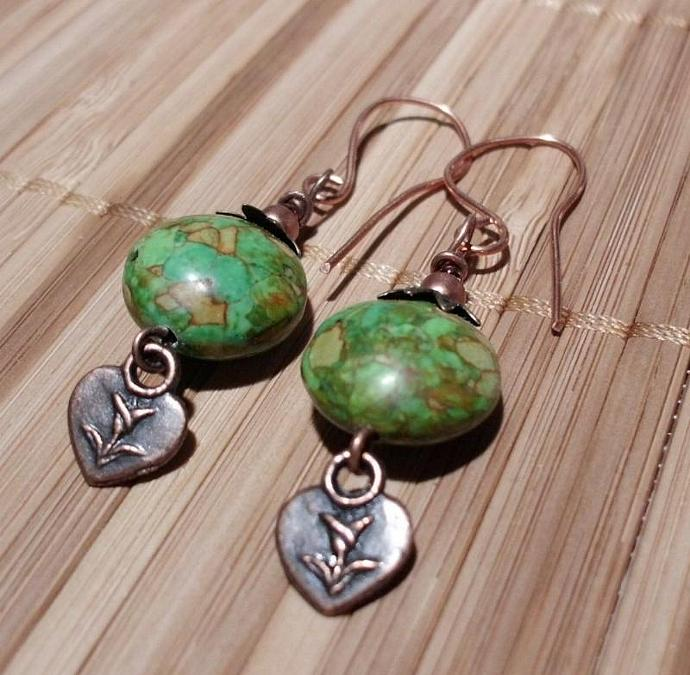 Mosaic Green Turquoise Earrings with Copper hearts