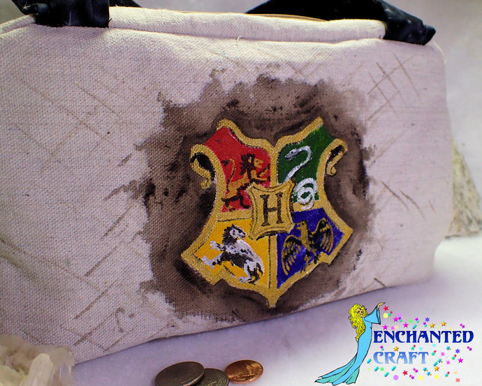 Handmade Purse hand painted Hogwarts Houses with Harry Potter, Hermione, and Ron