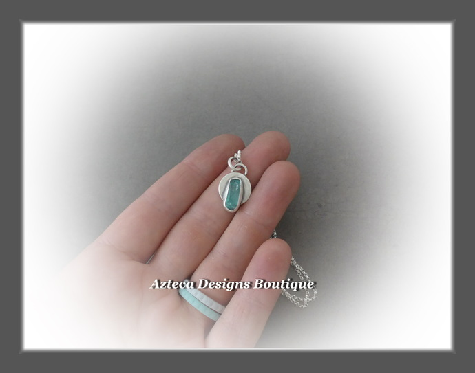 Light~Blue Apatite Crystal Hand Fabricated Sterling Silver Necklace