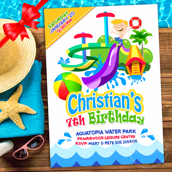 WATERPARK Party Invitation Water Slide By Lythiumart On Zibbet