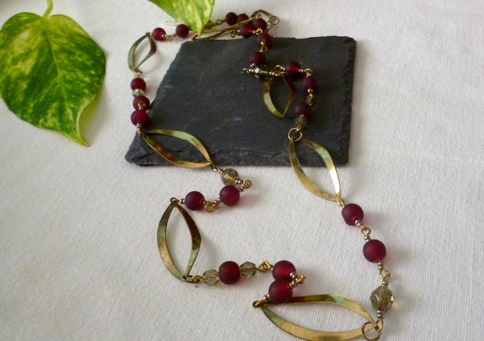Wine & Gold Necklace